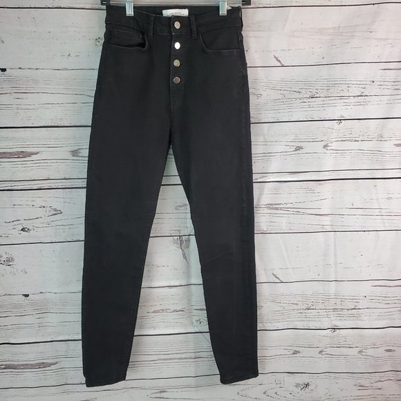 Zara High Rise Button Fly Skinny Jeans 4